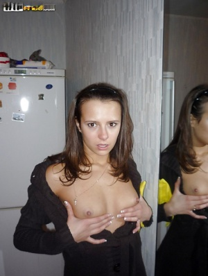 Foxy brunette amateur revealing her tiny titties and neat fanny