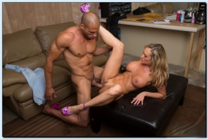 Filthy cougar Brandi Love seduces a studly lad to fuck his big boner
