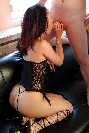 Kicky slut in lingerie and stockings gets anal fucked and jizzed over her ass
