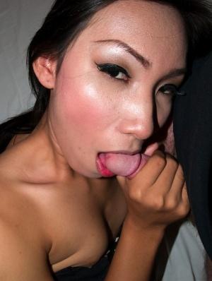 Pretty Asian tranny Nan gives bj before hard bareback ass fucking