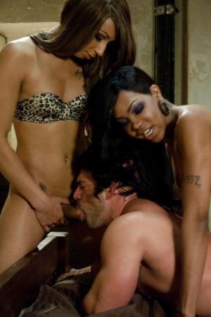 Horny trannies Sexy Jade and Honey FoXXX double dicking a guy hardcore