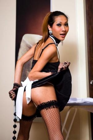 Naughty Asian tranny Yoyo is a dirty slut in a maid's uniform