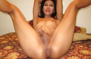 Brunette ladyboy gives bj and after having ass reamed takes creampie
