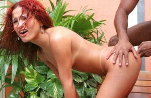 Big ass Latina shemale Leticya sucking dick in red boots by the pool
