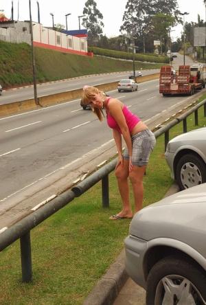 Big boobed blonde tranny Sandy Fernanda takes bareback cock in Latina ass