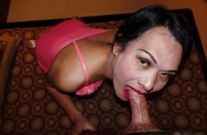 Skinny Asian ladyboy Natty 5 sliding panties aside for bareback ass fucking