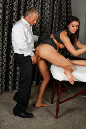 Lucky old man Marcus London fools around with Rilynn Rae and Janet Mason