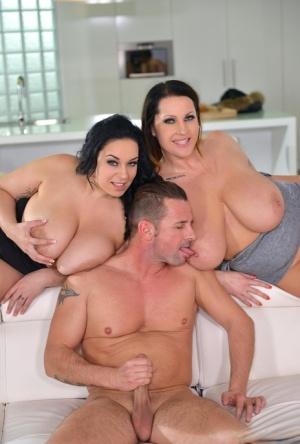 MILFs with large tits Laura Orsolya & Anastasia Lux enjoy rough anal 3way sex