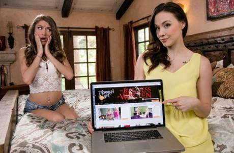 Cute teen Rebel Lynn enjoying lesbian sex with fuckable MILF Chanel Preston