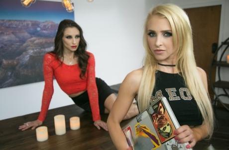 Sexy pornstars Celeste Star & Alix Lynx baring big tits & licking bald pussy