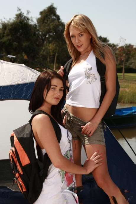 Lesbian girls Blue Angel & Antonya A lick assholes and twats on camping trip
