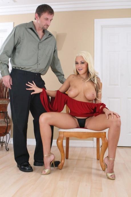Blonde chick Brianna Blair sucks off a huge dick after vaginal fucking