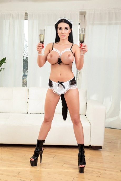 Busty maid Patty Michova pleasures the man of the house and hid buddy at once