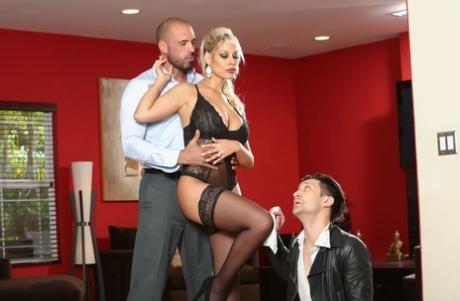 Hot wife Bridgette B fucks a man with a big dick afore her cuckold husband