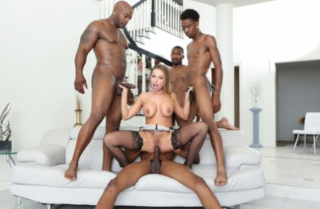 Blonde slut Britney Amber enjoying DP & cum drenching in interracial blowbang