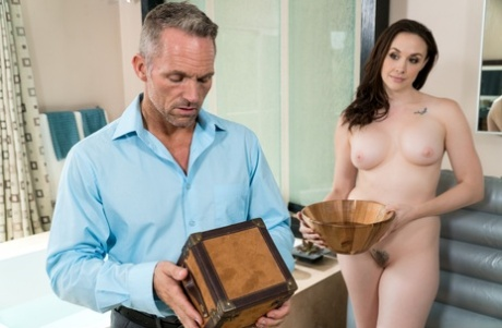 Mature MILF Chanel Preston oils up her man for hot massage and fuck session