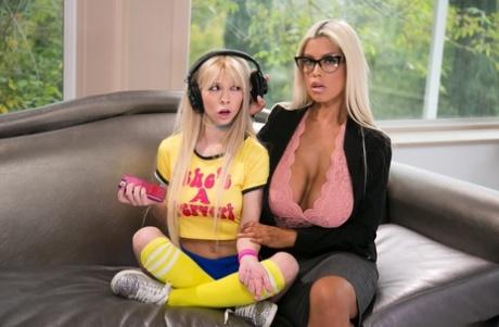 Lesbian bombshell Bridgette B seduces gamer girl stepdaughter Kenzie Reeves