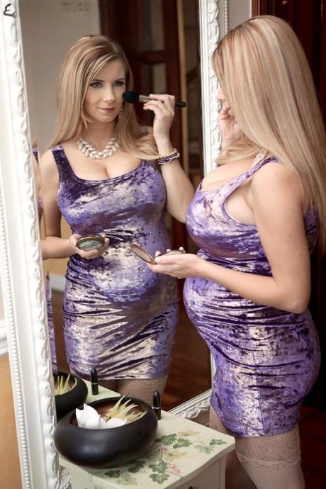 Pregnant female Katarina Dubrova seduces her husband in a tight dress