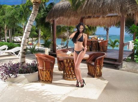 Latina model Breanne Benson toys her shaved pussy until girl juices flow