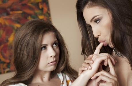 Desirable brunette hotties make some sizzling lesbian action
