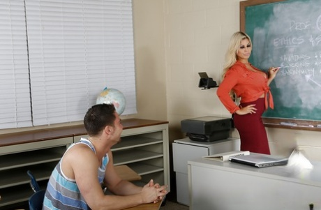 Slutty latina teacher gets fucked and takes jizz on her chin and huge melons