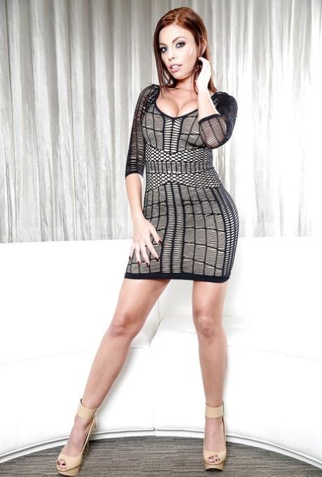 Curvy mom Britney Amber spreading legs to flash shaved MILF cunt