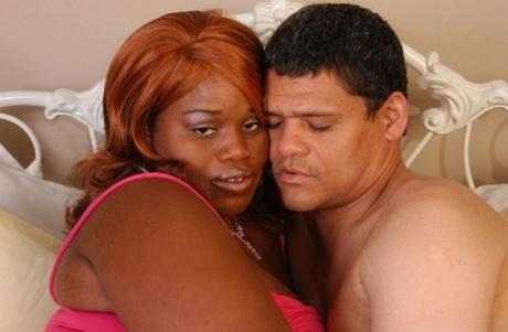 SSBBBW Princess taking cumshot on big black MILF booty after hardcore sex