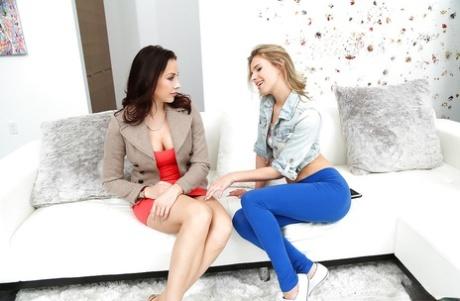 Brunette mom Chanel Preston and blonde teen Jillian Janson have lesbian sex
