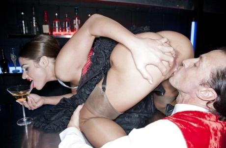 Busty MILF pornstar Cathy Heaven banging big cock in stockings