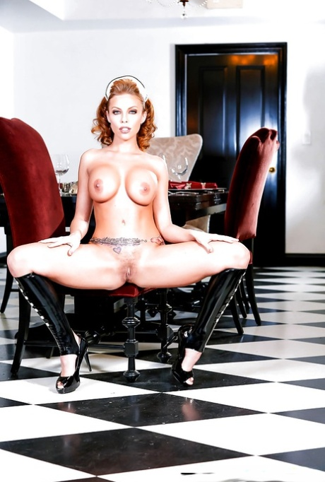 French maid Britney Amber releasing large boobs from latex uniform
