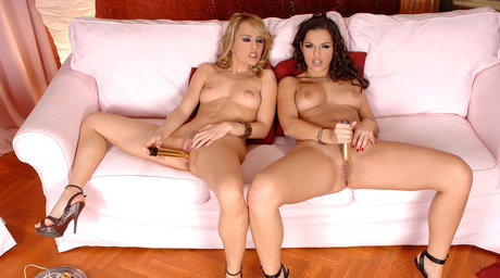 MILF pornstars Blue Angel and Eve Angel pleasure each other with sex toys