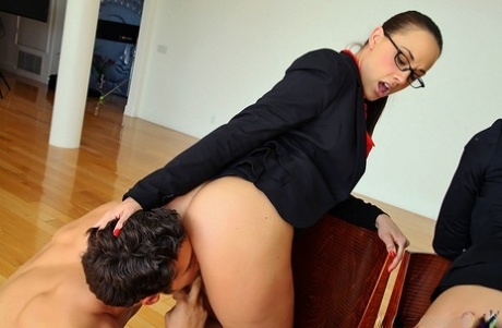 Businesswomen Brooklyn Lee & Chanel Preston hike skirt for sex with employees