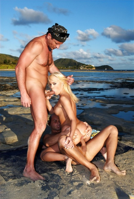 Blue Angel receives a facial after hardcore threesome outdoor