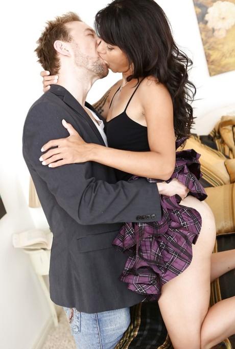 Stunning asian pornstar Dana Vespoli gives a blowjob and gets slammed