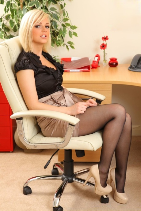 Beautiful secretary Erica takes off her satin outfit and flaunts juicy boobs - PornHugo.net