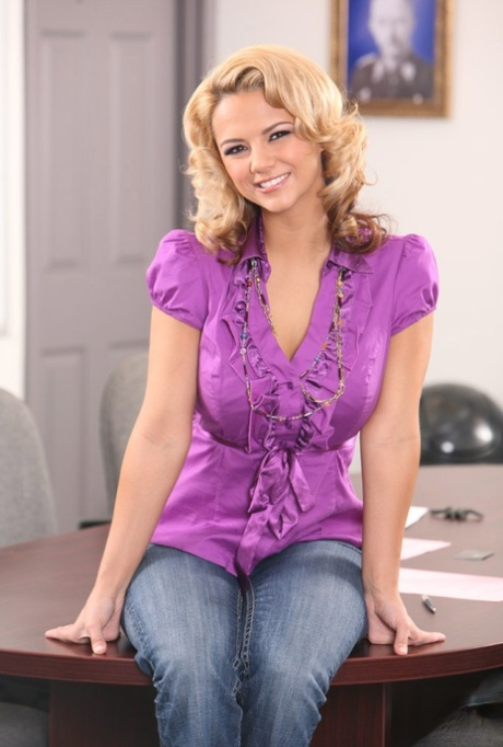 MILF with juicy tits Ashlynn Brooke gets bent over the desk & banged at work