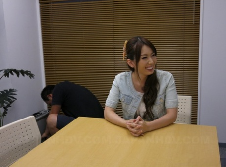 Naughty Asian office lady Yui Hatano making a colleague sniff her ass & pussy