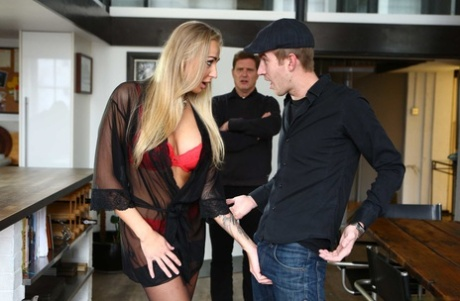 Russian MILF Kayla Green shows her big juggs and gets rammed in stockings